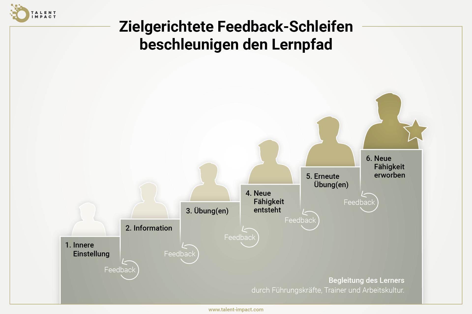 Grafik, die zeigt, wie man sich als Lerner auf seinem Lernpfad durch Feedback entwickeln kann und damit neue Verhaltensweise erlernt
